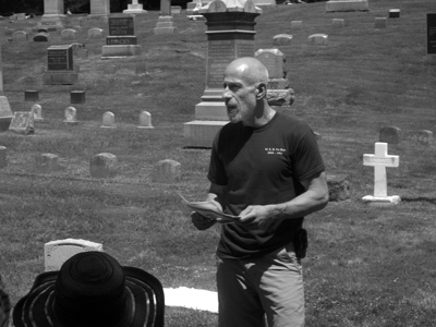 Randy F. Weinstein, the executive director of the W.E.B. Du Bois Center at Great Barrington, speaks at a ceremony in July at the Mahaiwe Cemetery.