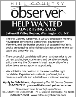 Help Wanted Sales position for Washington County NY